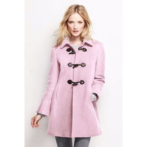 Lands End Wool Basketweave Toggle Coat Baby Pink